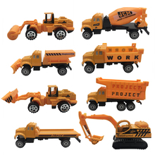 Diecast Metal Cars 3 Model Figures 1:64 8PCS Allloy City Construction Toy Dump Truck Vehicle Road Roller Fire Truck Longboard
