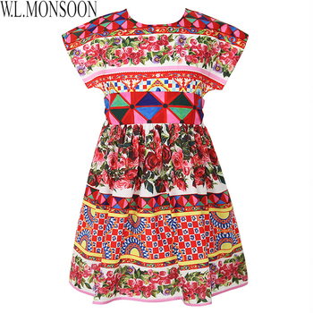 W.L.MONSOON Girls Carretto Rose Dress Summer 2017 Brand Rapunzel Dress Princess Costumes Kids Clothes Party Dresses with Sashes