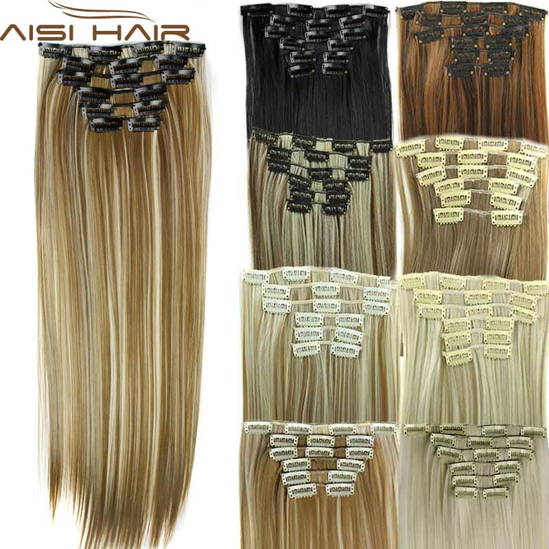 Synthetic Hair with Clips 16 Clip in Hair Extensions False Hair Hairpieces Synthetic 23 Long Straight Apply Hairpiece<br><br>Aliexpress
