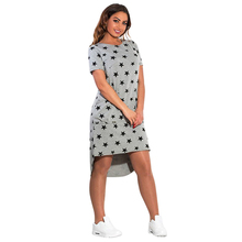 Fashion Print Star Summer Women Dresses big Sizes Plus Size Women Clothing Knee-Length Dress Casual Loose Dress