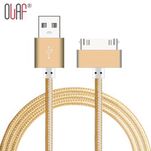 30 pin Metal plug Nylon Braided Sync Data Cable Micro USB Cable Fast Charging USB Cable For iPhone 3 GS 4 4S 4G iPad 2 3 iPod