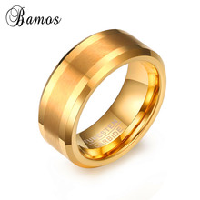 Fashion Jewelry Men Male Tungsten Carbide Ring Gold Color Lovers Pinky Ring For Wedding Party Gift Simple Design RING-0085
