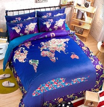Cotton quilt bedding set king queen twin blue plaid map printed colourful comforter duvet cover bedspread home textile
