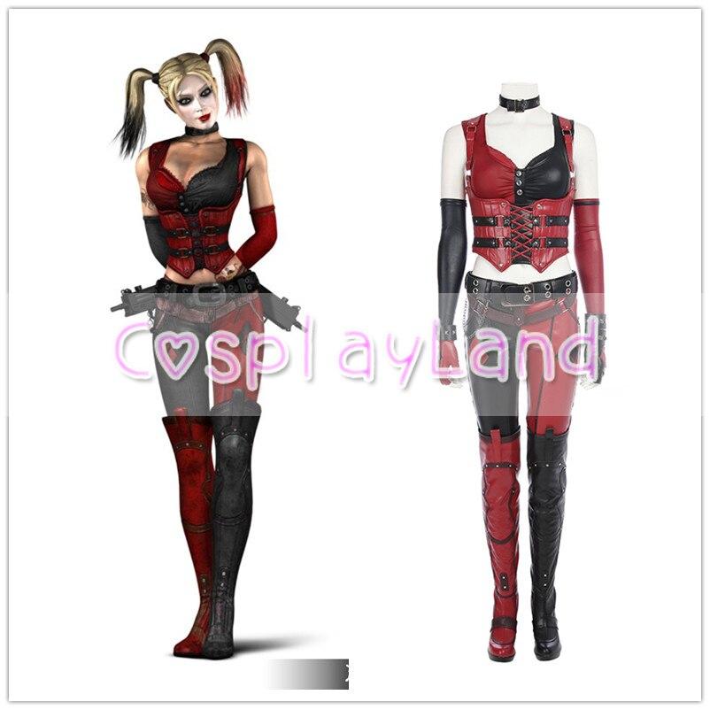 Halloween Batman Arkham Asylum City Knight Harley Quinn Cosplay Dress Costumes