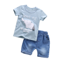 BibiCola Summer Children Boy Clothing Sets Baby Boy Clothes Sets Bebe Pattern Tops+Denim Pants Infant Boys Fashion Tracksuit Set(China)