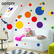 OOTDTY DIY Removable Wall Stickers for Kids Rooms Colorful Circle Dot Spot Art Mural Home Bedroom Decoration poster