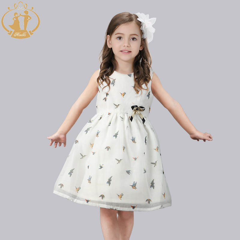 Nimble girls clothes little Bird Print Casual Kids clothes Knee-Length Cotton clothes for girls moana vestido infantil <br>