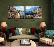 Mediterranean landscape painting for home decorative picture pastoral village style two panels free shipping(China)