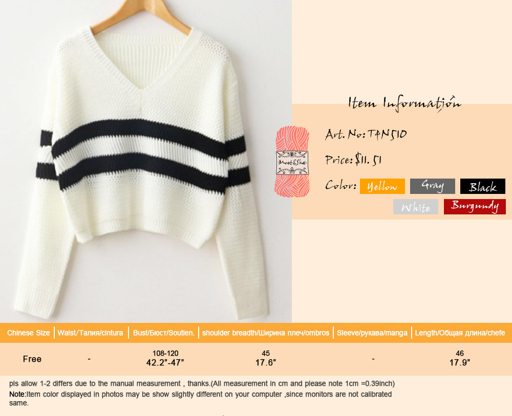4 Colors!Spring Autumn Women Sweaters Pullovers V-neck Crop Tops Striped Long Sleeve Knitted Sweater Roupas Femininas T4N510 1