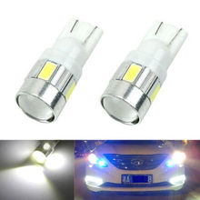2x 2016 New update 4 colors T10 LED Auto Car Light Bulb 5730 SMD 6 LED W5W 12V Interior Parking Projector Lens Free Shipping