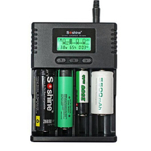 Original Soshine H4 LCD Smart Battery Charger for 26650 18650 16340 Battery Universal+Digital Car Charger Adapter