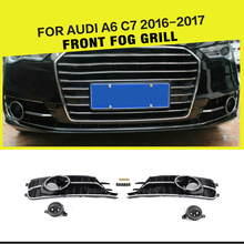 ABS Black Racing Mesh Fog Light Grille Covers for Audi A6 C7 Standard Bumper only 2016-2017(China)