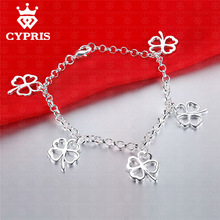 2017 CYPRIS Hot Clover Bracelet lucky jewelry Fashion silver  rolo chain bracelet women lady gift chic  Factory Price CYPRIS