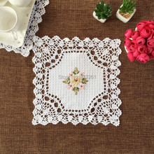 free shipping  32cm Square 6 pic/lot lace napkin for table decor dinner table mat cover towel coaster pad embroidery flower pad
