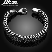 2017 mens bracelets & Bangles 5*12mm 316L Stainless Steel Wrist Band Hand Chain Jewelry Gift pulseira(China)