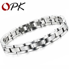 OPK Jewelry Magnet Stone Man Bracelet Classical Stainless Steel Energy Balance Link Chain Bracelets For Men Health Care GS8012