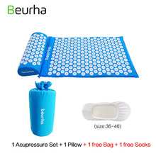 Beurha 2 Colors Yoga Massage Acupressure Massage Relieve Stress Pain Acupuncture Body Neck Back Massage Mat With Pillow(China)