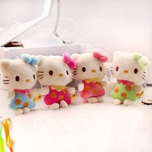 New 4PC Valentine Hello Kitty Kawaii Plush Toys Stuffed Toy,10CM Cat Toy Soft Figure Doll,Key Chain Design,Bag Pendant Charm Toy(China)