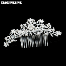 XIAOJINGLING Hair Comb Flower Jewelry Head Pieces Clips Hairpins Wedding Accessories Bridal Bridesmaids Crystal Pearl Headwear