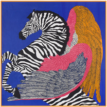 100cm*100cm New Arrival 100% Twill Silk Women Big Square Scarf Zebra Horse and Feather Printed kerchief 3129