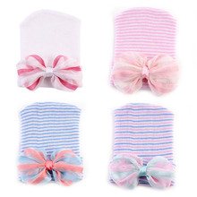 Color Bowknot Female Baby Knitting Hooded Hat Baby Spring Hat Boys Girls Cotton Knit Infant Striped Caps Toddler Hat Accessories(China)