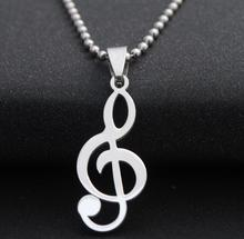 Newest Fashion Trendy Stainless Steel Loving Dance Note Musical Notation Pendants Necklace For Women Men Elegant Wedding jewelry