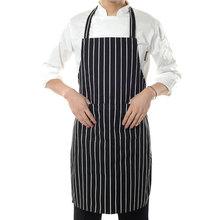 New High Quality Black Restaurant Stripe Bib Apron with 2 Pockets Chef Waiter For Kitchen Cook Cloth