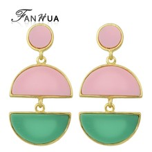 FANHUA New Statement Long Earrings Pink Green White Acrylic Earring Semicircle Drop Hanging Earring For Women Accessories