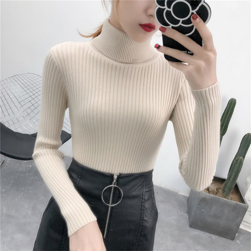19 Women Sweater casual solid turtleneck female pullover full sleeve warm soft spring autumn winter knitted cotton 3