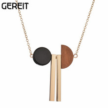 GEREIT 2017 New Arrival Jewerly Long Sweater Chain Bullion Wood Pendant Necklace For Women Party Gift Collier Charm Accessories