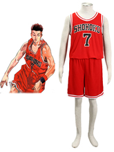 Free Shipping Slam Dunk  Ryota Miyagi The Shohoku High School basketball team Uniform Red Number 7Anime Cosplay Costume