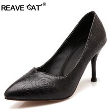 REAVE CAT Women Mid heels Ladies pumps Pointed toe Large size 34-45 Spring Autumn Party Rose Print PU  Black Shoes women RL2457