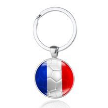 100pcs France World Cup Foot Ball Key Chain Flag Pattern Soccer Keyring Car Keychain Pendant Keyfob Accessories Souvenir 2018(China)