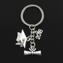 Buy Fashion 30mm Key Chain Keychain Jewelry Silver graduate diploma graduation cap 2018 2019 2020 Pendant for $1.74 in AliExpress store