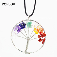 POPLOV Women Rainbow 8 Chakra Pendent Necklace Tree of Life Quartz Chips Long Chain Necklace Vintage Colorful Stone Jewelry