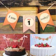 2/set I AM 1 TODAY Garland Chair Banner & Cake Topper Kids 1st Birthday Party(China)