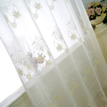 White Embroidered Sheer Curtains Towel Embroidery Gauze Curtains For Living Room Tulle Volie Window Curtain Custom Made