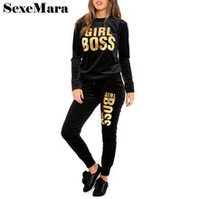 SexeMara Spring 2018 Letter Print Velour Tracksuit Women 2 Piece Set Top and Pants Girls Suit Velvet Sexy Club Outfits D35-BZ51(China)