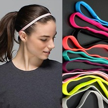 Candy color women Sports Elastic Headband Running Fitness night Yoga Anti-slip Silicone Rubber Hair Bands women wearing(China)