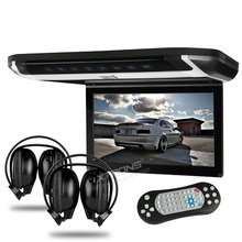 "10"" Flip Down Car DVD Car Roof DVD Roof Monitor Car DVD with 2 IR/FM Headphones & Built-in HDMI Port & Sleek/Elegant Touch Panel"