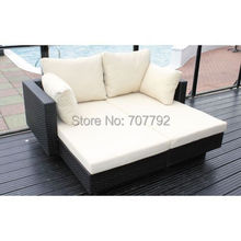 2015 living room outdoor furniture double lounger in black flat weave