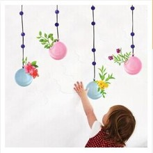 Free shipping Wall Decal Stickers Removable Wallpaper,Room Sticker, House Sticker Vinyl The balloon basket flower AY611(China)