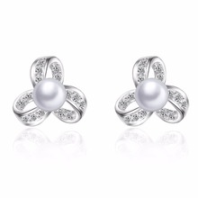 925 Sterling Silver Fashion Design Pearl Shiny Zircon Stud Earrings for Women Jewelry Christmas Gift Wholesale Drop Shipping