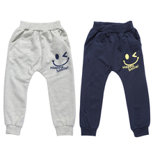Spring Summer Boys Pants Smiling Face Print Elastic Pant Kids Boys Casual Trousers Bottoms for Children