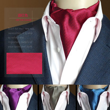 High Quality Men Vintage Wedding Formal Cravat Ascot Scrunch Self British style Gentleman Silk Plaid Neck Tie