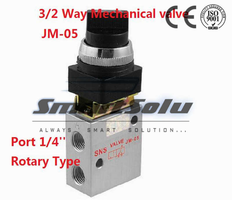 Free shipping  3 way air Manual Mechanical valve hand control valves 1/4 inch JM-05 Rotary type with selective knob button<br><br>Aliexpress