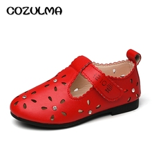 COZULMA 2017 New Girls Shoes Girls PU Leather Cut-outs Sandals Baby Kids Rhinestone Princess Party Shoes Children Casual Sandals