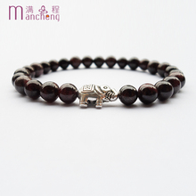 Buy Fashion Male Ancient silver elephant beads bracelet elasticity,Elephant 6MM natural gem Garnet Rope chain bracelet women 2017 CO.,LTD--) for $1.16 in AliExpress store