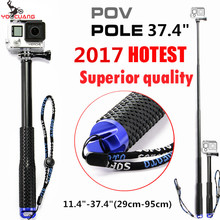 YOOCUANG For Go Pro  Extendable Handheld POV Pole Telescopic Monopod Stick w Remote Holder Clip for GoPro Hero 5 4 3+ 3 LD07