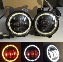 "New Arrival! 1 set 4"" Inch LED Fog Lights with Red Demon Eyes & Amber Turn Signal Angel Eyes for Softail Dyna Harley Motorcycle"